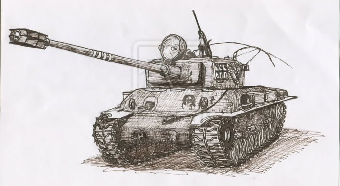 """Ink M-51 Sherman"" by wulfhound"