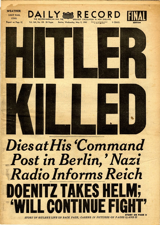 Hitler Dead Front Page