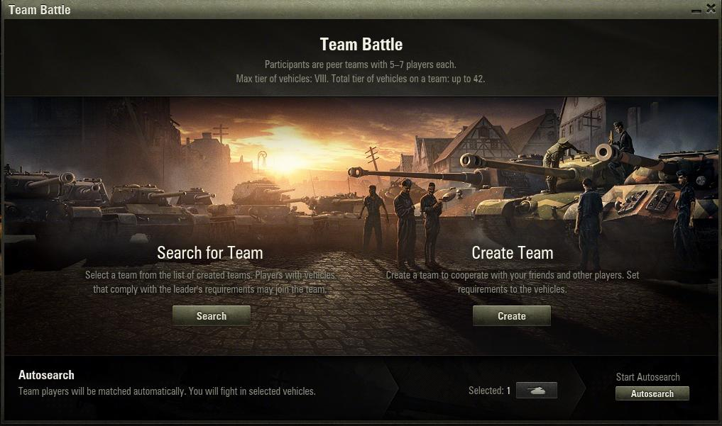 World of tanks team battle matchmaking